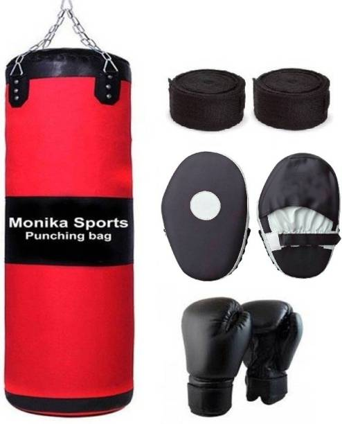 Monika Sports 3 feet Unfilled Boxing Bag with Chain + Boxing Gloves+1 Pair of Focus Pad + 1 pair of Boxing handwrap Boxing Kit