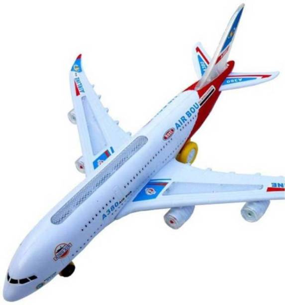Global Airplane Toys for Kids with Bump and Go Action | Battery Operated Airbus A380 Action Toy Plane with Flashing Lights, Real Jet Sound(Running with Light and music # Not Flying)