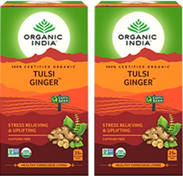 ORGANIC INDIA Tulsi Ginger 25 Tea Bags- (Pack Of 2) Tulsi, Ginger Herbal Tea Box