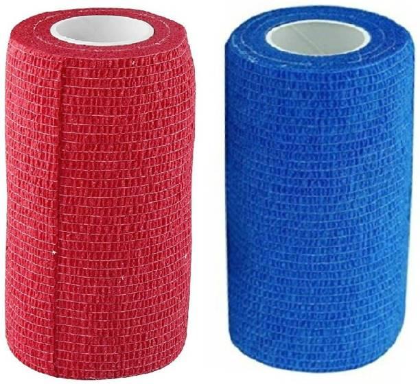 A-TAPE Self Adhesive Bandage Cohesive Blue & Red (10 cm X 4.5 meters, Pack of 2) Elastic Crepe Bandage