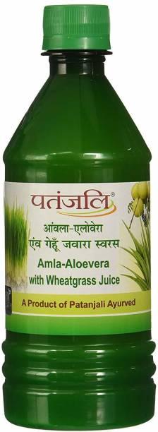 PATANJALI Amla-Aloevera with Wheatgrass Juice 500ml