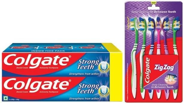 Colgate Strong Teeth Combo 6 Brushes, 3 Toothpaste