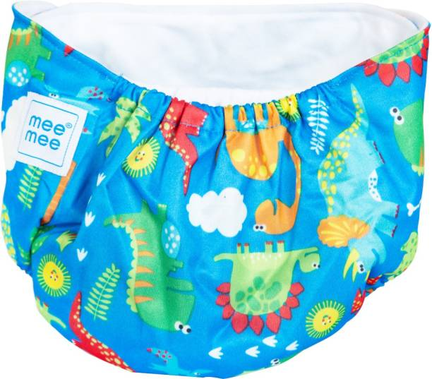MeeMee Reusable Baby Cloth Diaper with Adjustable Snap Buttons (Light Blue)