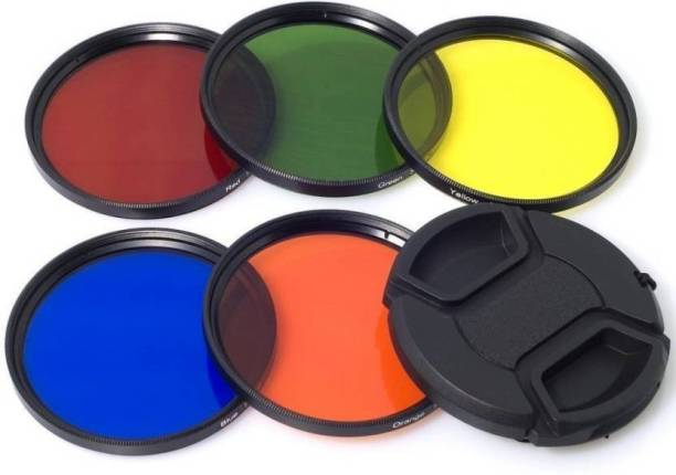 SHOPEE 58mm Color Set Lens Accessory Filter Kit Blue Yellow Orange Red Green + Lens Cap + 6 slot Case FOR EOS 1000D 1100D 1200D 600D 60D 650D 700D 18-55MM & 55-250MM Color Effect Filter