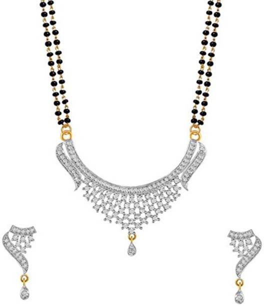 736e127fc2 Zeneme Women's Pride American Diamond Gold Plated Mangalsutra Pendant with  Chain & Earring Set Jewellery for
