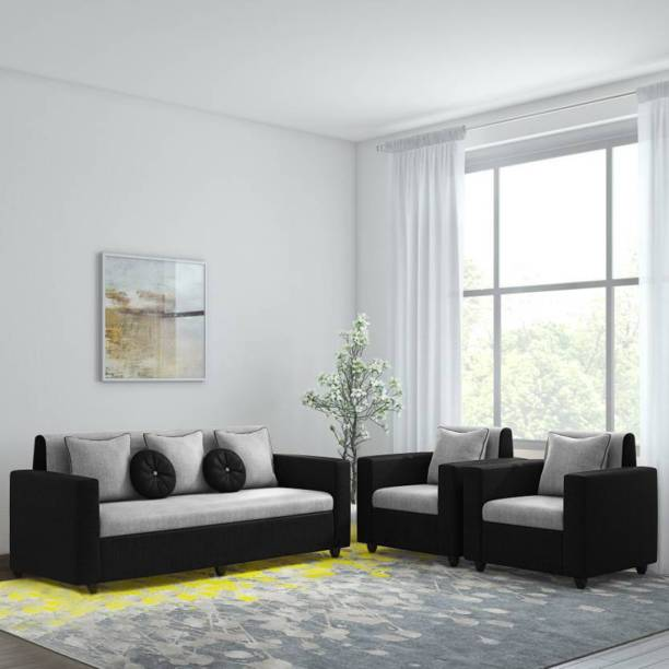 Bharat Lifestyle Tulip Fabric 3 + 1 + 1 Black Grey Sofa Set