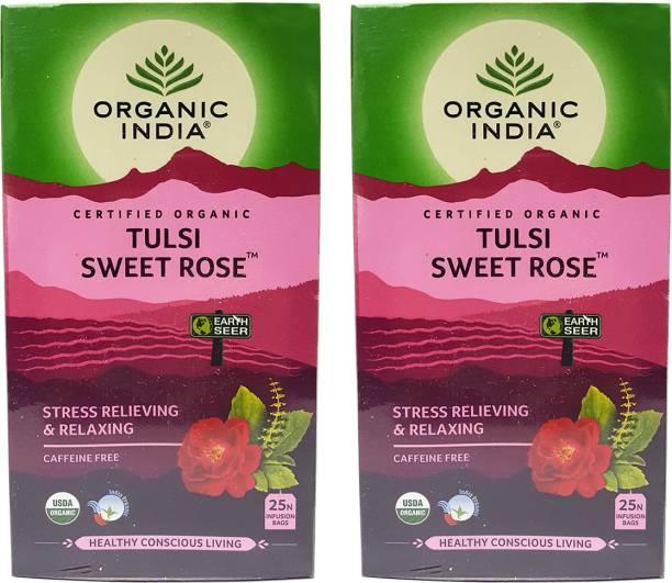 ORGANIC INDIA Tulsi Sweet Rose 25 Tea Bags- (Pack Of 2) Tulsi, Rose Green Tea Bags Box