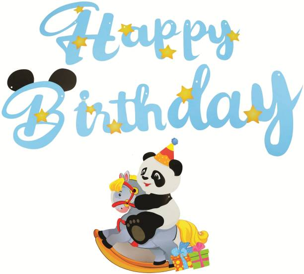 Skylofts Birthday Decorations Items for Boys - Big Panda Style Happy Birthday Banner Party Propz For Boys Birthday Party( Blue) Banner