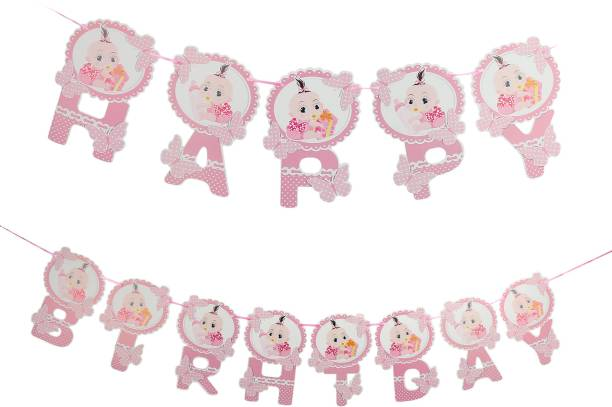 Skylofts Birthday Decorations Items for Girls - Happy Birthday Banner Party Propz ( Pink) Banner