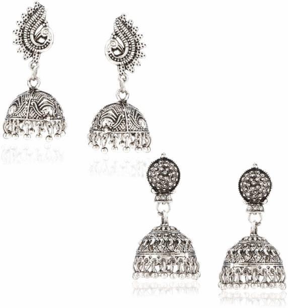 306ddbb63 Yellow Chimes Stylish COMBO 2 Pairs Silver Oxidized Traditional Jhumka  Jhumki Earrings Brass Jhumki Earring