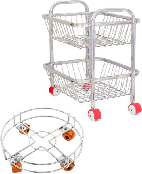 ARISERS Stainless Steel 2 tier kitchen trolley with Cylinder trolley, Fruit and Vegetable trolley Steel Kitchen Trolley