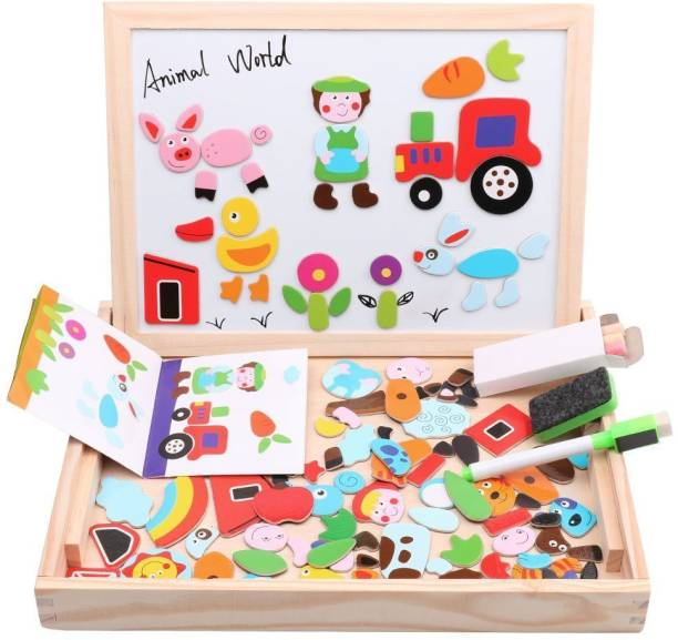 Authfort Wooden Educational Toys Magnetic Art Easel Animals Wooden Puzzles Games for Kids WD01
