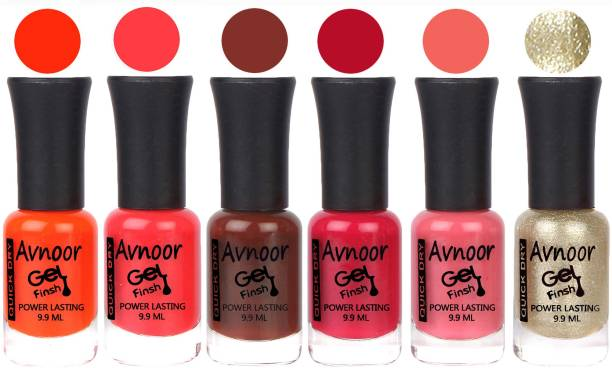 Avnoor Trendy Color Gel Nail Polish Combo Set No 1065 Multicolor