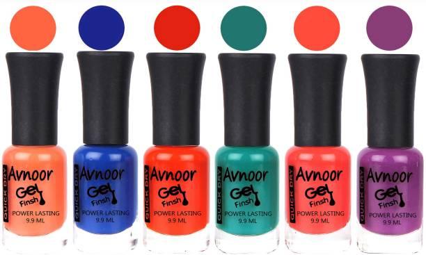 Avnoor Trendy Color Gel Nail Polish Combo Set No 1073 Multicolor