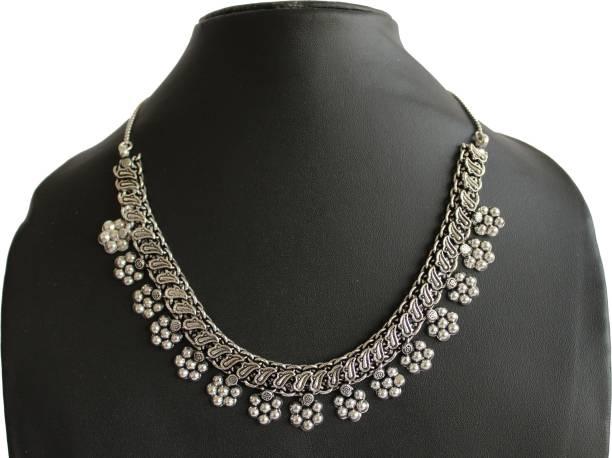 6f84c9e113e FashionCraft Flowers Afghani German Design German Silver Necklace Alloy,  Metal Necklace