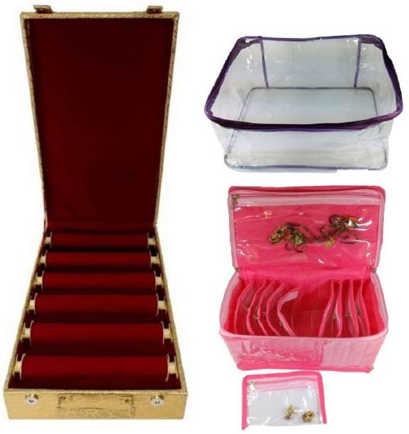 736437249 phoenixfaso combo of 6 roll rod bangle box vanity box wooden bangle storage  box TEN pocket