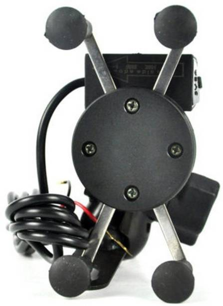 RWT X-Grip Mobile Phone Holder with USB Charger Bike Mobile Holder (Black) Bike Mobile Holder