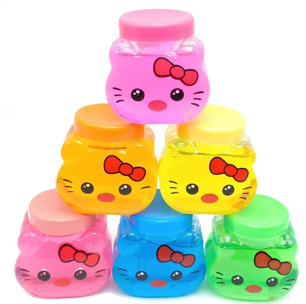 AncientKart Baby Kitty Faced Ultra Clear Soft Crystal Mud Putty with Sequins Set of 6 Multicolor Putty Toy