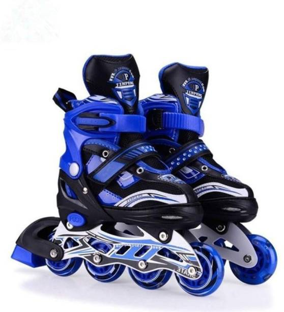 Authfort Adjustable All Pure PU Wheels it has Aluminum-Alloy which is Strong with LED Flash Light on Wheels In-line Skates - Size 5-8 UK (Multicolor) In-line Skates - Size Wed May 08 00:00:00 IST 2019 UK