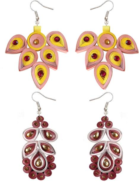 ab7f6b019 KRI Jewels Combo of 2 Multicolour Floral Design Handmade Paper Quilling  Dangle Earrings for Women &