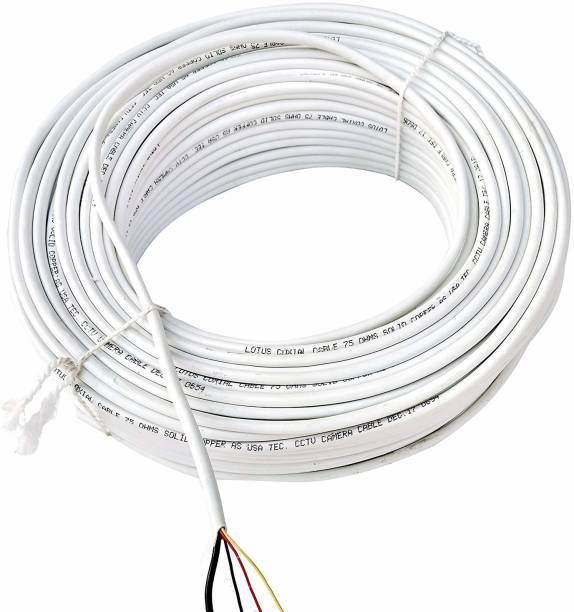 kathiriyas CCTV 3+1 Full Copper Breding Alloy Mic Complete Video Transfer White 30 m Wire
