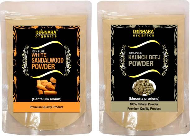 Donnara Organics 100% Pure & Natural Sandalwood Powder and Kaunch Beej powder Combo pack of 2 of 150 gms(300 gms)
