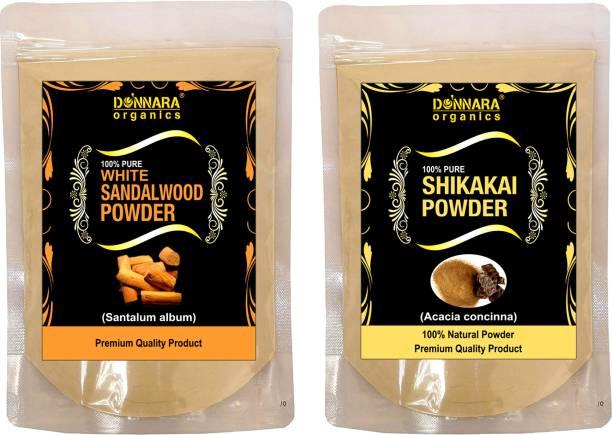 Donnara Organics 100% Pure & Natural Sandalwood Powder and Shikakai powder Combo pack of 2 of 150 gms(300 gms)