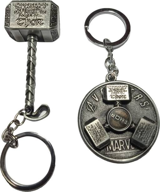 MASHKI THOR COMBO OF 2 KEYCHAIN - SOLID & ROTATING HAMMER Key Chain
