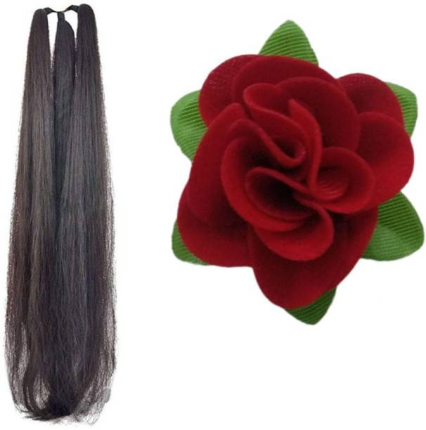 Maahal 24Inchs Black Hair Parandi / Extension with Red Rose Clip / Braid Extension