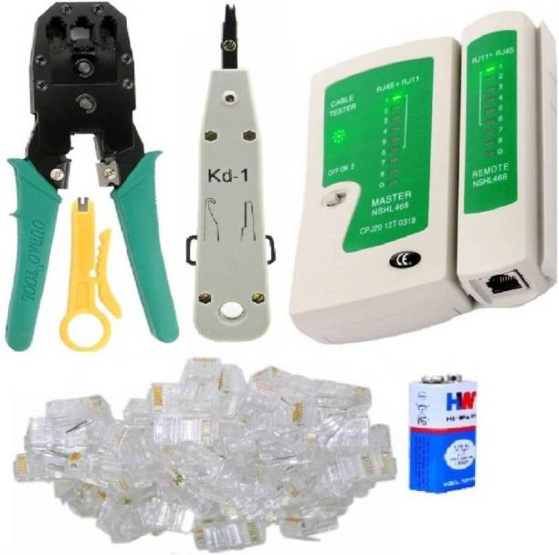 SHOPEE Combo Crimping Tool + Network LAN Cable Tester + RJ 45 Connectors Cable Plug Heads Multifunctional Tools for IT Laptop Computer Network Profeesionals Combo Set