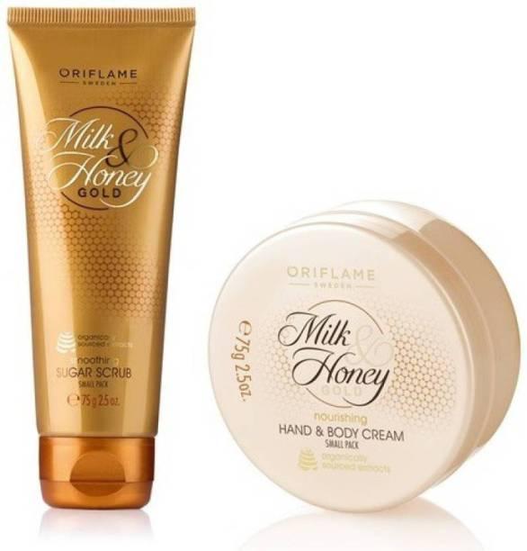 Oriflame Sweden Milk & Honey Gold Nourishing Hand & Body Cream + Smoothing Sugar Scrub Small Pack Combo