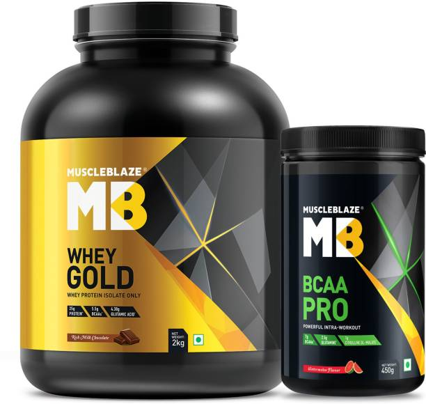 MUSCLEBLAZE Whey Gold 2 kg with BCAA Pro 450g Combo, 2 Piece(s)/Pack (RMC + Watermelon) Whey Protein