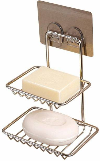 VDNSI Wall mount Self-Adhesive Stainless Steel Double-Layer Soap Dish Holder