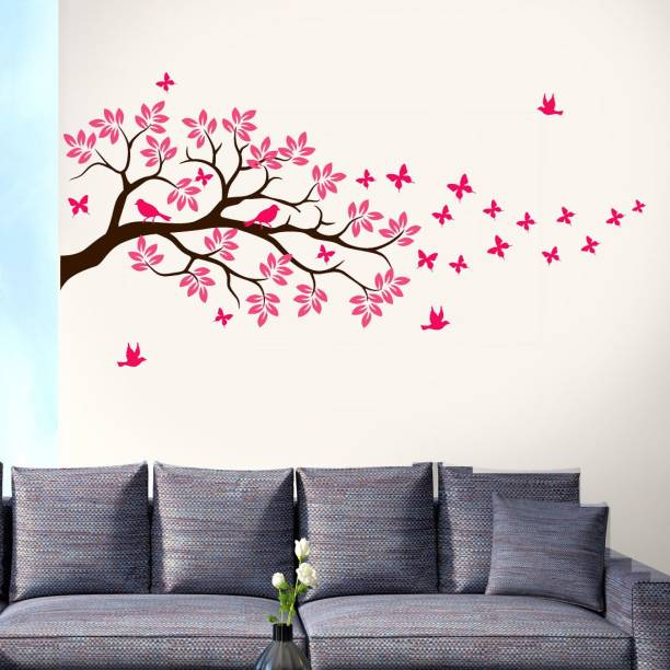 walkart Large WallStickers (75155) black branch with pink leaves and birds