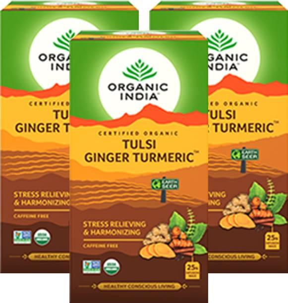 ORGANIC INDIA Tulsi Ginger Turmeric 25 Tea Bags- (Pack Of 3) Tulsi Green Tea Bags Box