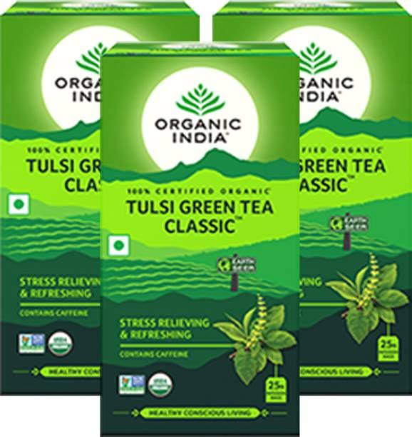 ORGANIC INDIA Tulsi Green Tea Classic 25 Tea Bags- (Pack Of 3) Tulsi Green Tea Bags Box
