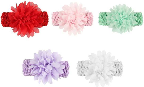 a9b6bcac6bb FOK 5 Pc Floral Flower Elastic Hair Bands For Babies Kids Girls Head Band