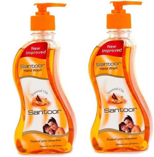 santoor Tulsi andSandalwood -215ml+215ml Pump Bottle (pack of 2 pc) Hand Wash Pump Dispenser
