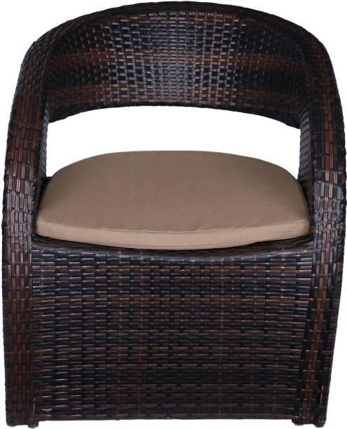 spacepanda Z Shape Wicker Chair Metal Outdoor Chair