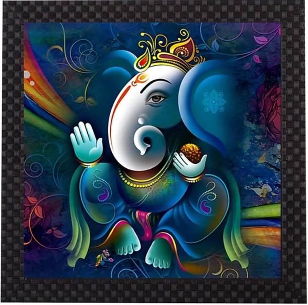 Craft Junction Lord Ganesha Print Design Matt Textured UV Ink 12 inch x 12 inch Painting