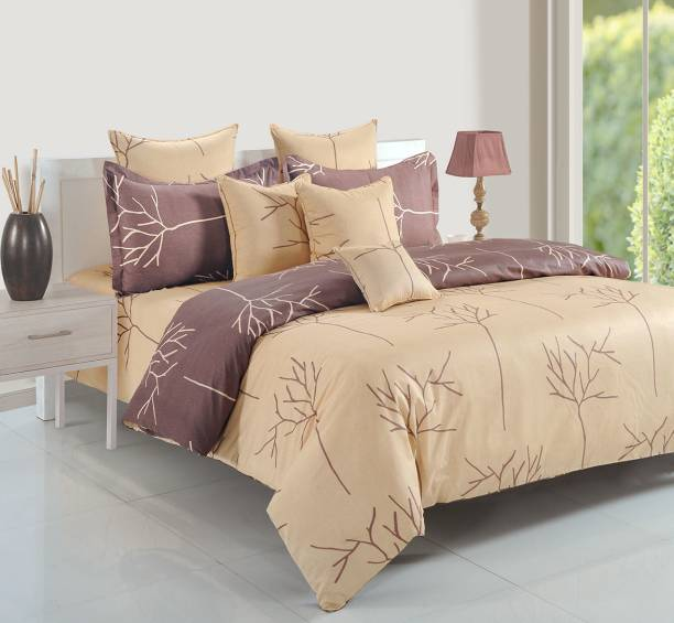 SWAYAM 200 TC Cotton Double King Abstract Bedsheet