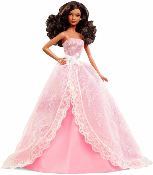 NEW Happy Birthday Barbie Doll Caucasian Blonde Pink Dress