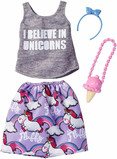 Barbie Fashion Pack Unicorn Top /& Teal Skirt with purse /& sunglasses
