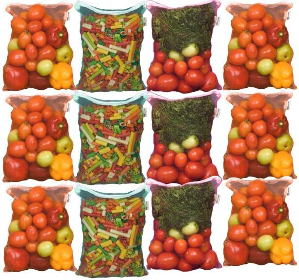 Earthy Fab Fruit & Vegetable Fridge/ Reusable Mesh Produce Bag Pack of 12 Grocery Bags