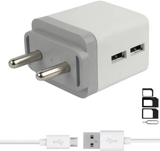 ShopMagics Wall Charger Accessory Combo for VOX Mobile Kick K3, VOX Mobile Kick K7, VOX Mobile V5600 Dual Port Charger Original Adapter Like Wall Charger, Mobile Power Adapter, Fast Charger, Android Smartphone Charger, Battery Charger, High Speed Travel Charger With 1 Meter Micro USB Cable Charging Cable Data Cable