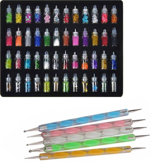 FOK 48 Bottles 3d Nail Art Set, 5Pcs Double Side Dotting Pen Decoration Tool - Combo 53Pcs