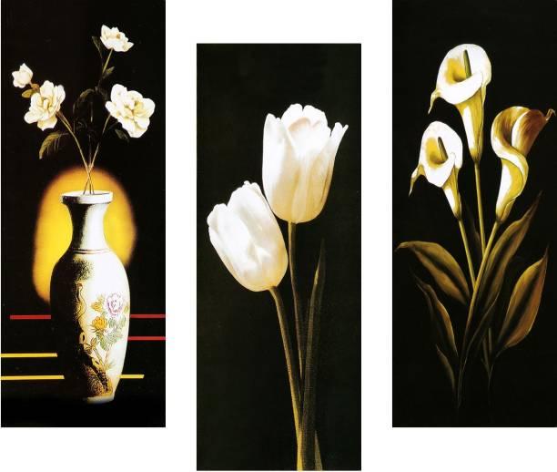 SAF Floral 6MM MDF Framed set of 3 Digital Reprint 15 inch x 18 inch Painting