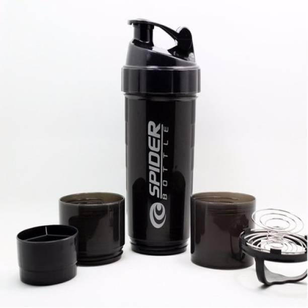 spider Smart Protein Shaker Bottle for gym with 2 Storage Extra Compartment 500 ml Shaker 500 ml Shaker