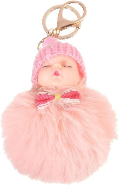 DALUCI Cute Fluffy Rabbit Ball Fur Pompom Sleeping Baby Doll Women -Light Pink Key Chain