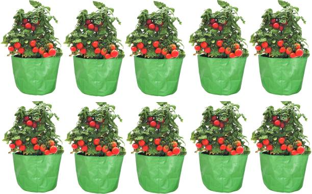 """Coirgarden Terrace Gardening HDPE Circular Grow Bags for Vegetable Plants (10""""x10"""" inches) - [25cms(L) X 25cms(H)] - Pack of 10 Grow bags Grow Bag"""